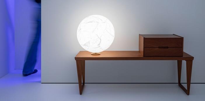 Lampe a poser moon t blanc o40cm h42cm davide groppi normal
