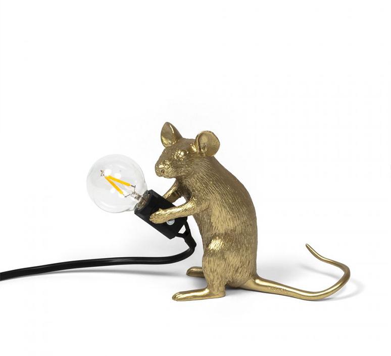 Mouse sitting marcantonio raimondi malerba lampe a poser table lamp  seletti 14942 gld  design signed nedgis 97862 product