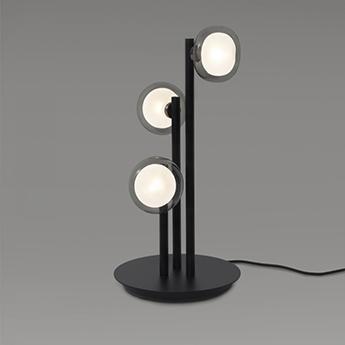 Lampe a poser nabila 552 33 noir matt noir chrome et verre fume ip40 o30cm h55cm tooy normal