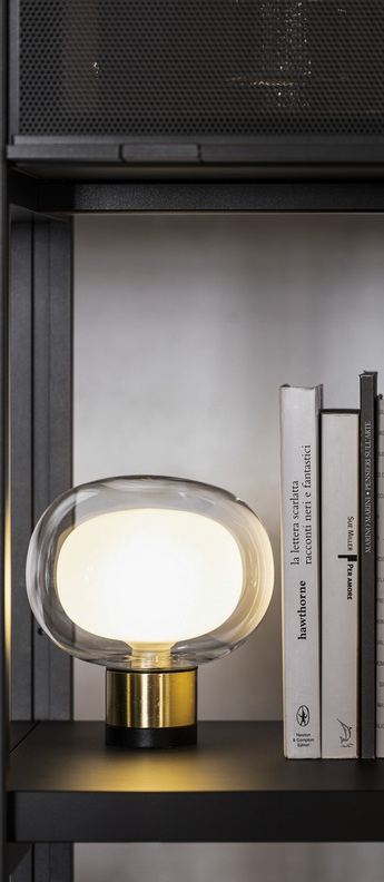 Lampe a poser nabila 552 36 noir matt laiton brosse et verre transparent ip40 o16cm h17 5cm tooy normal