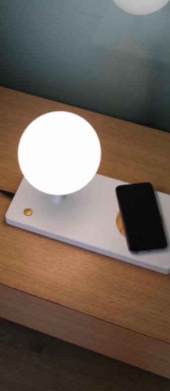 Lampe a poser niko bois blanc led o30cm h22cm faro normal