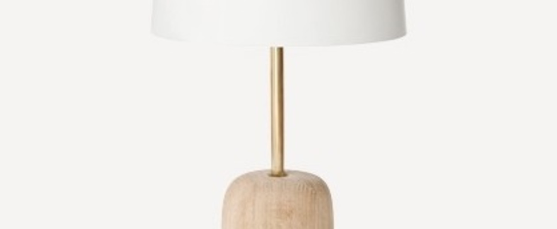 Lampe a poser nina blanc laiton chene o23cm h41cm harto normal
