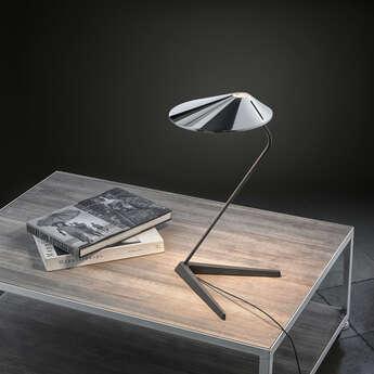 Lampe a poser non la t chrome l26 5cm h47cm bover normal