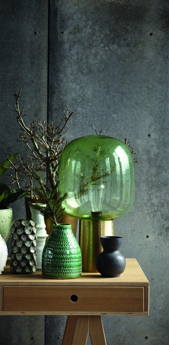 Lampe a poser note vert laiton laque h52cm o28cm house doctor normal