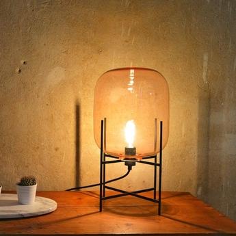 Lampe a poser oda small verre fume ambre h45cm pulpo normal