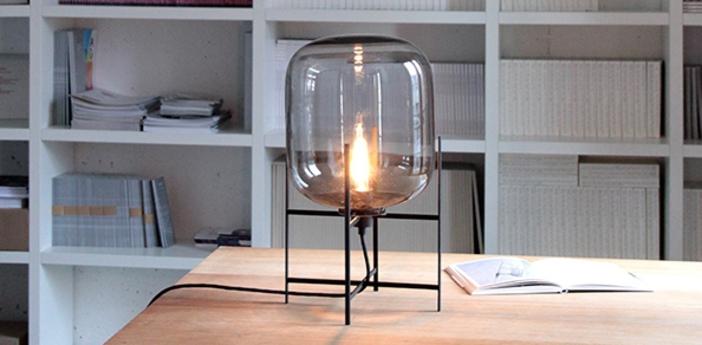 Lampe a poser oda small verre fume gris h45cm pulpo normal