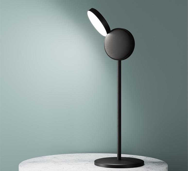 lampe poser optunia marron sombre led l18cm h58 5cm fontana arte luminaires nedgis. Black Bedroom Furniture Sets. Home Design Ideas