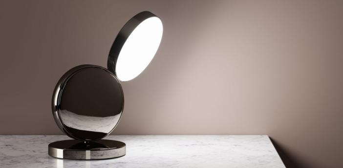 Lampe a poser optunia spotlight marron sombre led o13cm h24cm fontana arte normal