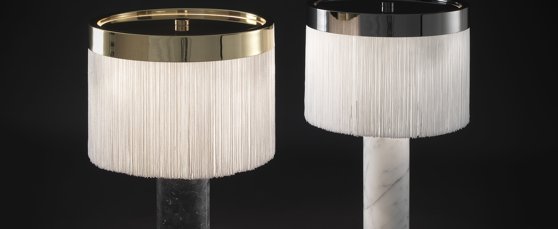 Lampe a poser orsola marbre blanc chrome noir led 2700k 1410lm o32cm h55cm tato italia normal