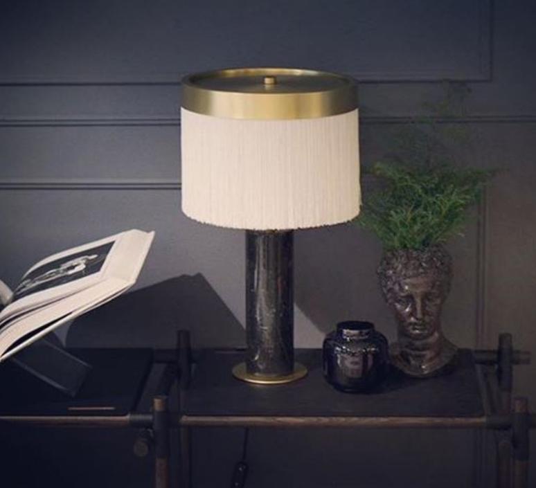 Lampe A Poser Orsola Marbre Noir Laiton Led 2700k 1410lm O32cm H55cm Tato Italia