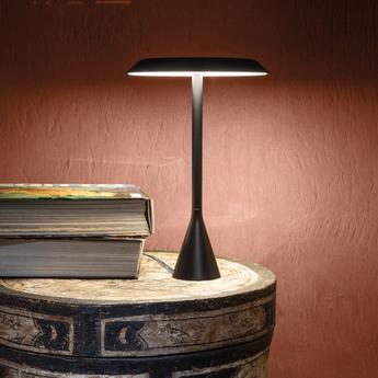 Lampe a poser panama mini batterie 7h noir led o20cm h30cm nemo lighting normal