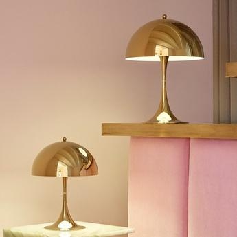 Lampe a poser panthella mini laiton led 2700k 428lm o25cm h33 5cm louis poulsen normal