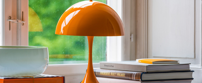 Lampe a poser panthella mini orange led o25cm h33 5cm louis poulsen normal