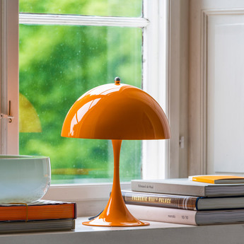 Lampe a poser panthella mini orange led o25cm h33 5cm louis poulsen normal