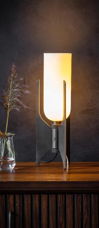 Lampe a poser pennon bronze blanc o14cm h42cm bert frank normal