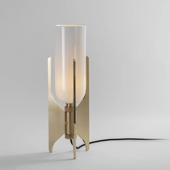 Lampe a poser pennon laiton verre opalin o14cm h42cm bert frank normal