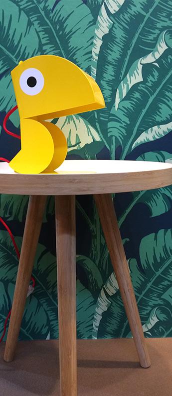 Lampe a poser perroquet jaune l19cm h23cm bleu carmin design normal