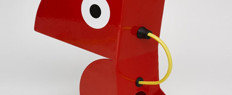 Lampe a poser perroquet rouge l19cm h23cm bleu carmin design normal