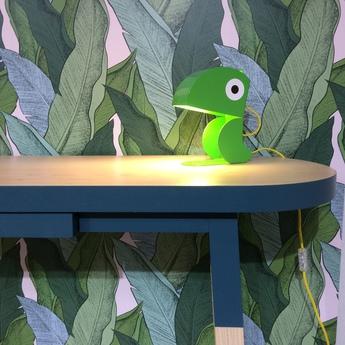 Lampe a poser perroquet vert l19cm h23cm bleu carmin design normal