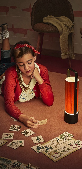 Lampe a poser piknik m orange led h37cm l9 5cm lzf normal