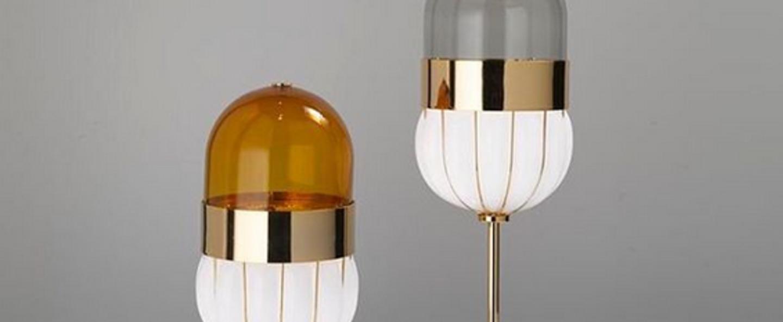 Lampe a poser pill blanc laiton o16cm h34cm mm lampadari normal