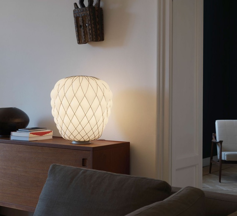 lampe poser pinecone blanc 50cm h52cm fontana arte luminaires nedgis. Black Bedroom Furniture Sets. Home Design Ideas