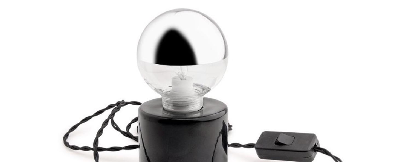 Lampe a poser porcelaine 014 noir h15cm zangra normal