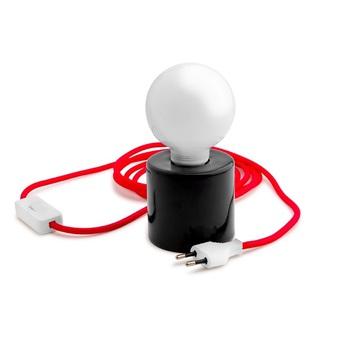 Lampe a poser porcelaine 014 noir rouge h15cm zangra normal