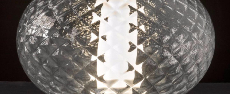 Lampe a poser recuerdo 284 aluminium transparent led o32cm h22 5cm oluce normal