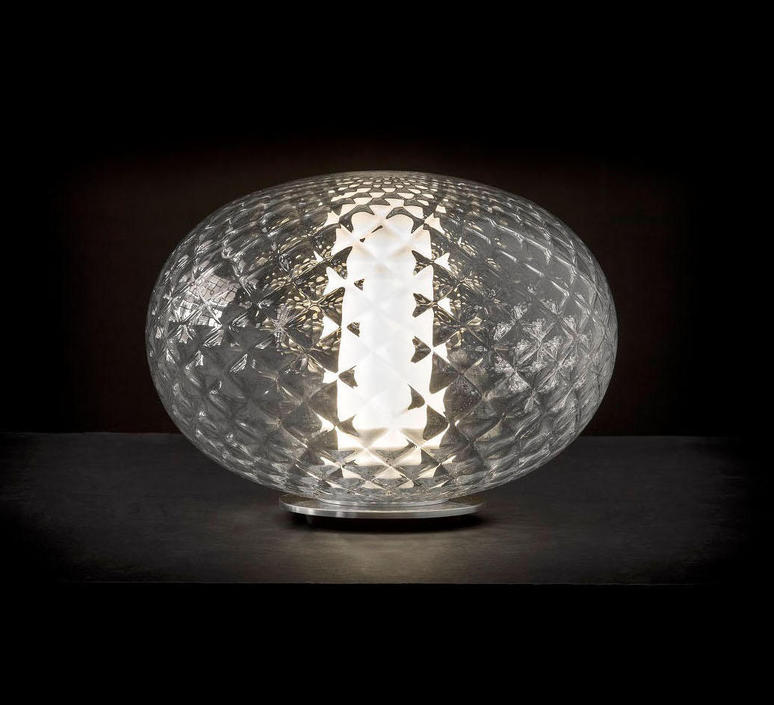 lampe poser recuerdo 284 aluminium transparent led 32cm h22 5cm oluce luminaires nedgis. Black Bedroom Furniture Sets. Home Design Ideas