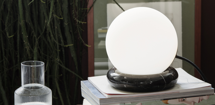 Lampe a poser rest noir et blanc o15cm h16cm ferm living normal