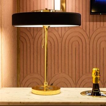 Lampe a poser revolve noir et or led o35cm h42cm bert frank normal