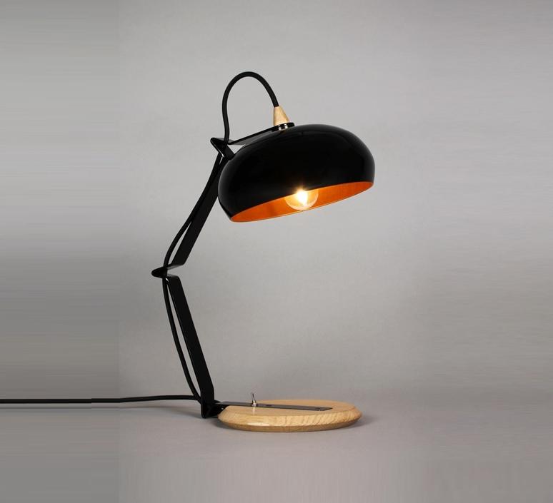 Lampe A Poser Rhoda Tbs Noir Cuivre H43cm Lampari Luminaires