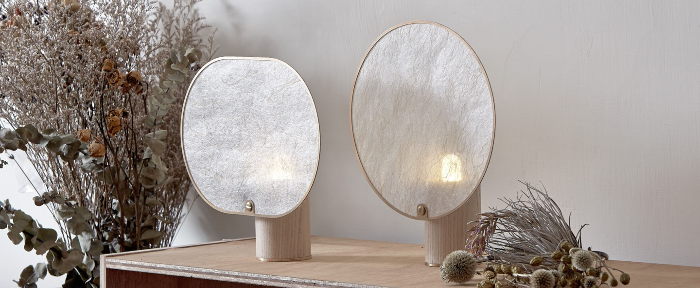 Lampe a poser screen light round blanc laiton led l22cm h24cm kimu normal