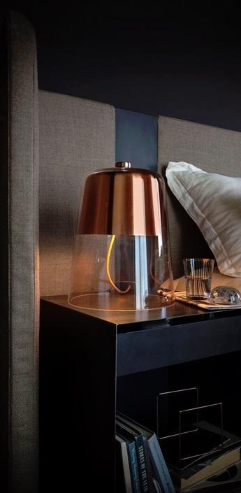 Lampe a poser semplice cuivre transparent h39cm oluce normal