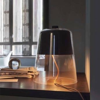Lampe a poser semplice noir transparent h39cm oluce normal