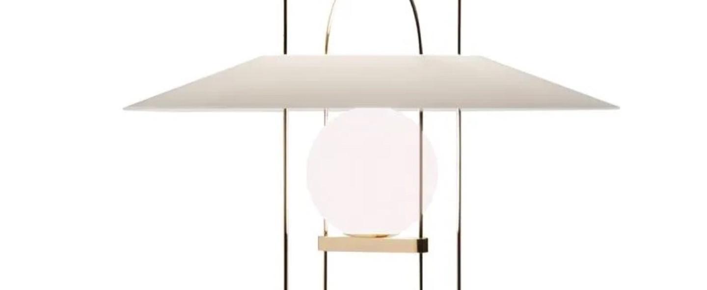 Lampe a poser setareh blanc or led 2700k 830lm o45cm h60 4cm fontana arte normal