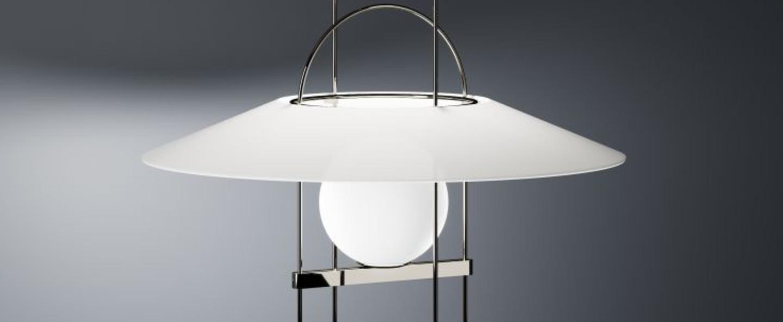 Lampe a poser setareh chrome noir led o45cm h60 4cm fontana arte normal