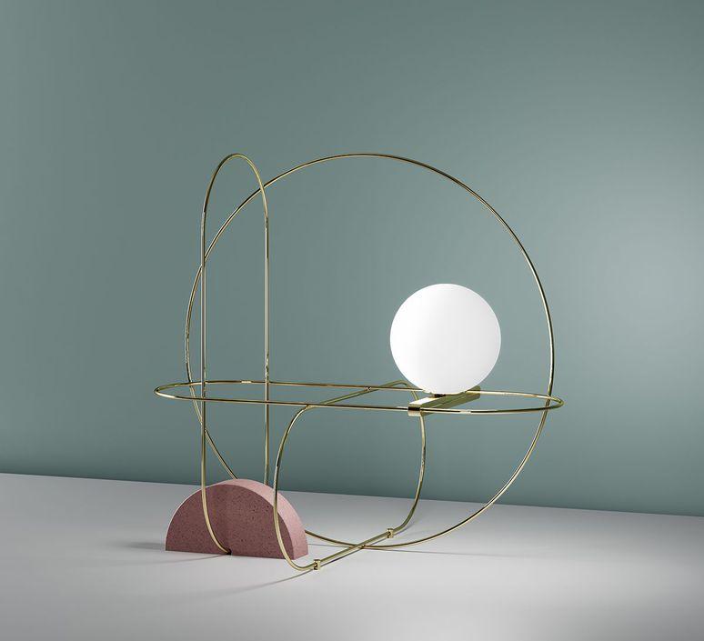 Table lamp, Setareh, gold, LED, L48cm, H44,9cm - Fontana Arte ...