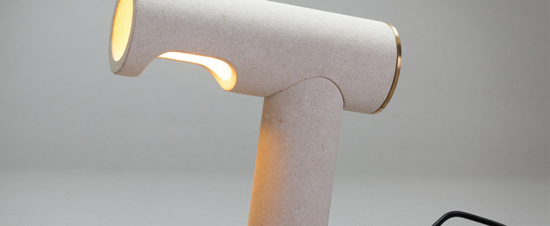 Lampe a poser simple light beige h25cm pulpo normal