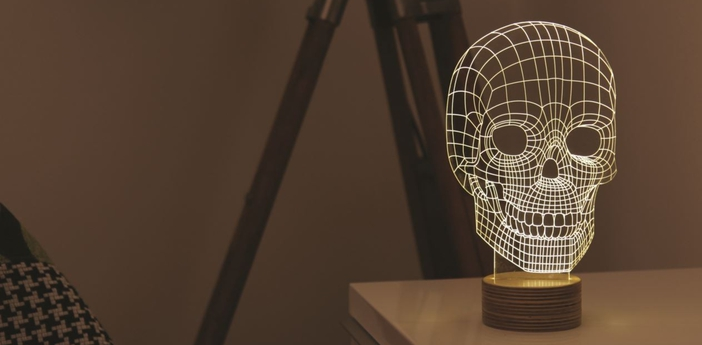 Lampe a poser skull led h23cm studio cheha normal