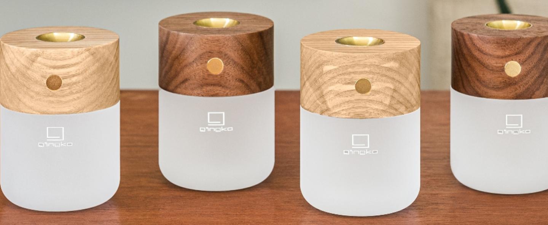 Lampe a poser smart diffuser lamp ash wood marron 2700k a 3000ko6 5cm h9cm gingko normal