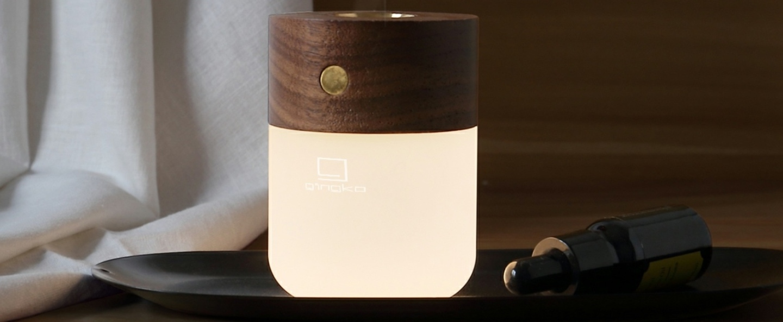 Lampe a poser smart diffuser lamp walnut wood marron 2700k a 3000ko6 5cm h9cm gingko normal