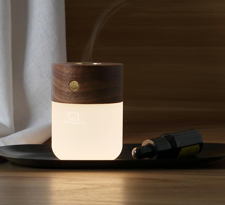 Smart diffuser lamp walnut wood studio gingko lampe a poser table lamp  gingko g017wt  design signed nedgis 112392 product
