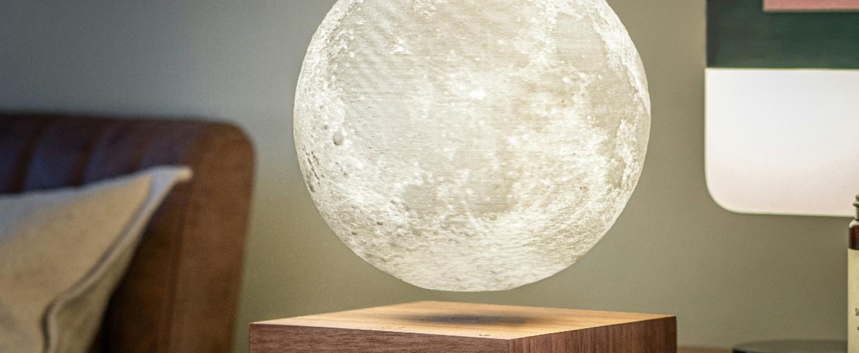 Lampe a poser smart moon lamp walnut wood blanc 2700k a 5000ko14 cm h20cm gingko normal