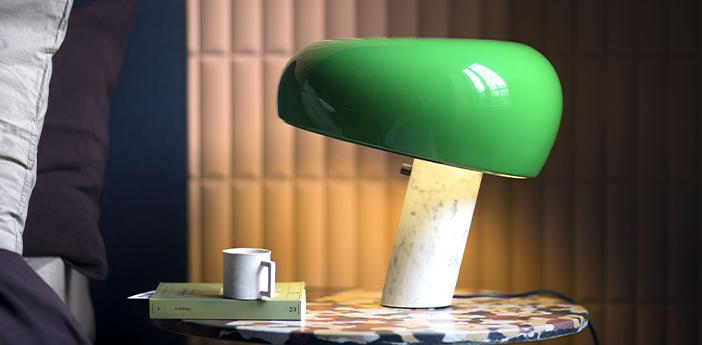 Lampe a poser snoopy metal vert et marbre blanc o39 4cm h36 9cm flos normal