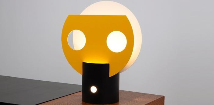 Lampe a poser soleil jaune noir blanc h50cm lignes de demarcation normal