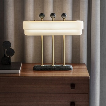 Lampe a poser spate laiton marbre guatemala interrupteur variable l44cm h40cm bert frank normal