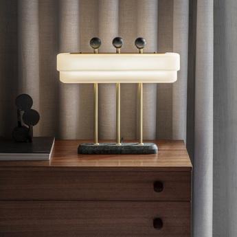 Lampe a poser spate laiton marbre guatemala l44cm h40cm bert frank normal