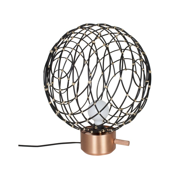 lampe poser sphere bamboo m noir 32cm forestier luminaires nedgis. Black Bedroom Furniture Sets. Home Design Ideas